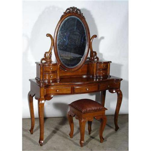 Victorian Antique Vanity Dresser Mirror W Stool 1628140