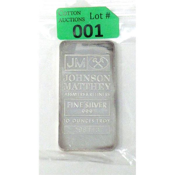 10 Oz. Johnson Matthey .999 Fine Silver Bar