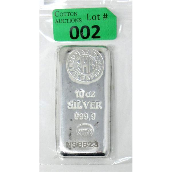 10 Oz Suisse Mint NADIR .9999 Fine Silver Bar