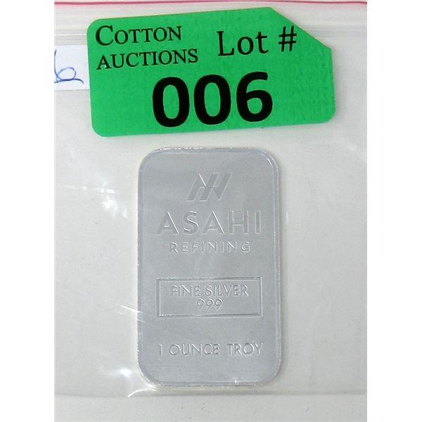 1Oz. Asahi Refining .999 Silver Bar