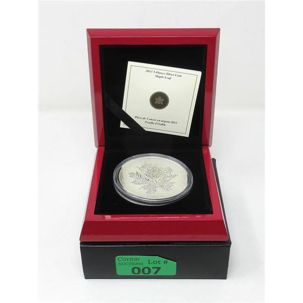 5 Oz Canada .9999 Fine Silver 2013 Maple Leaf Coin