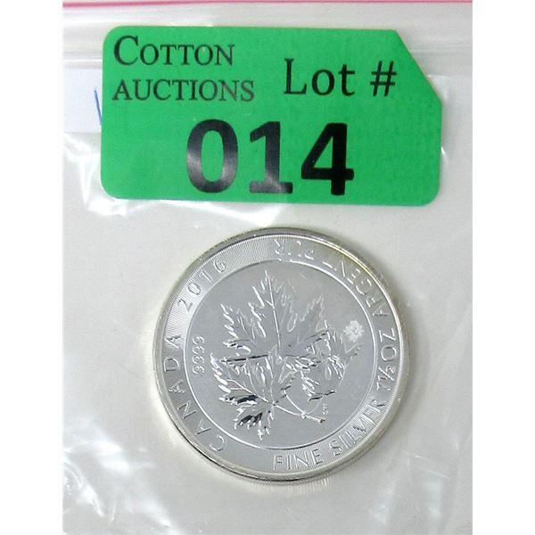 1 1/2 Oz. Canada .9999 Silver 2016 Super Leaf Coin