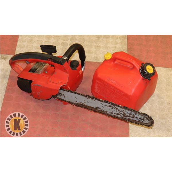 HOMELITE SUPER 2 CHAINSAW + GAS CAN  NEEDS TLC