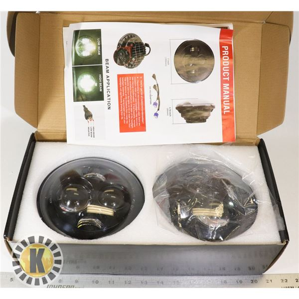 """TWO 7"""" HEADLIGHTS WITH INSTALLATION INSTRUCTIONS"""