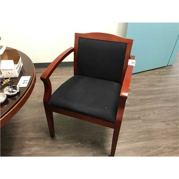 BLACK AND MAHOGANY BENTWOOD ARM CHAIR