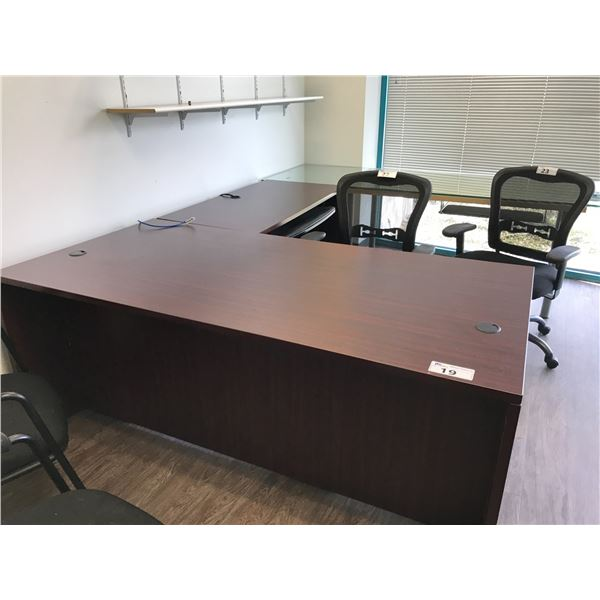 MAHOGANY 6 X 6' EXECUTIVE L-SHAPE DESK RH