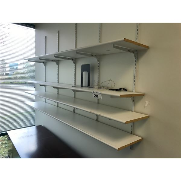 LOT OF WHITE WALL MOUNTED SHELVING