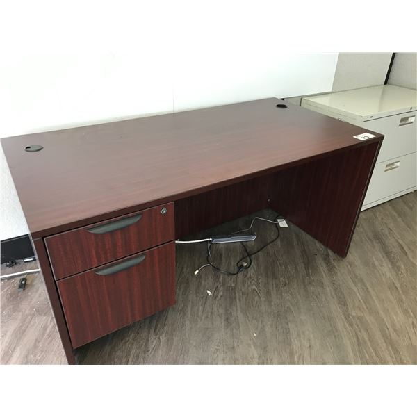 """MAHOGANY 5' SINGLE PEDESTAL DESK, A 30"""" BOOKCASE AND A BEIGE 2 DRAWER LATERAL FILE CABINET"""