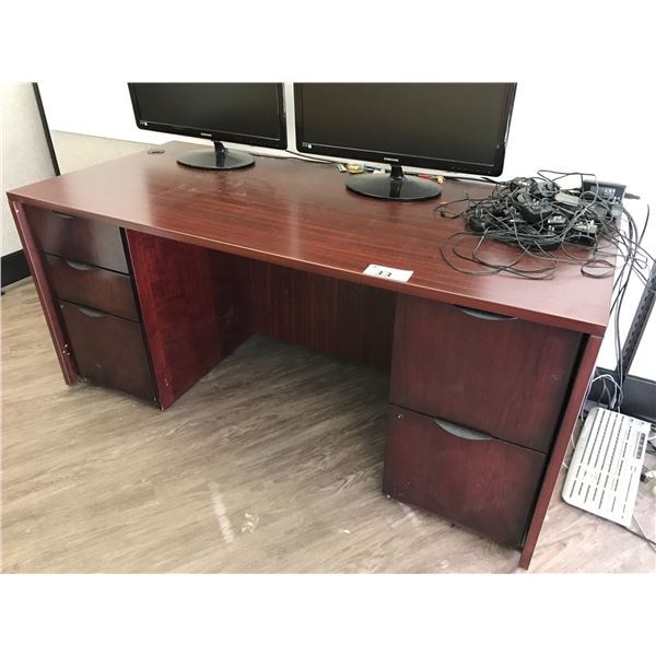MAHOGANY 6' DOUBLE PEDESTAL EXECUTIVE DESK