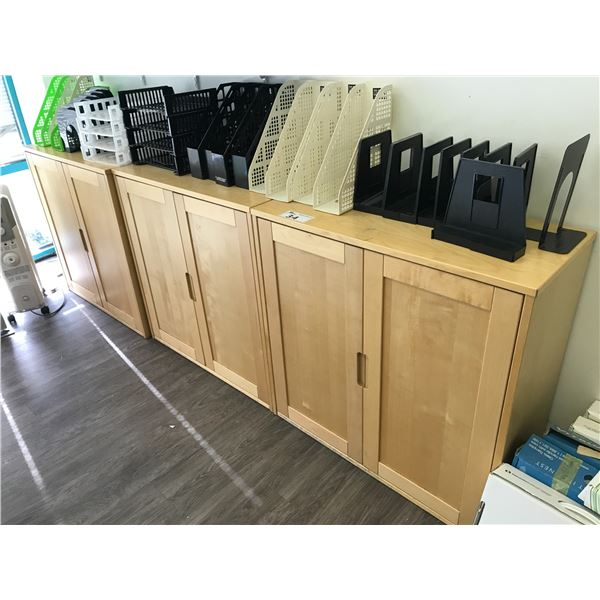 """3 MAPLE 36"""" DOUBLE DOOR CABINETS AND ONE END TABLE"""