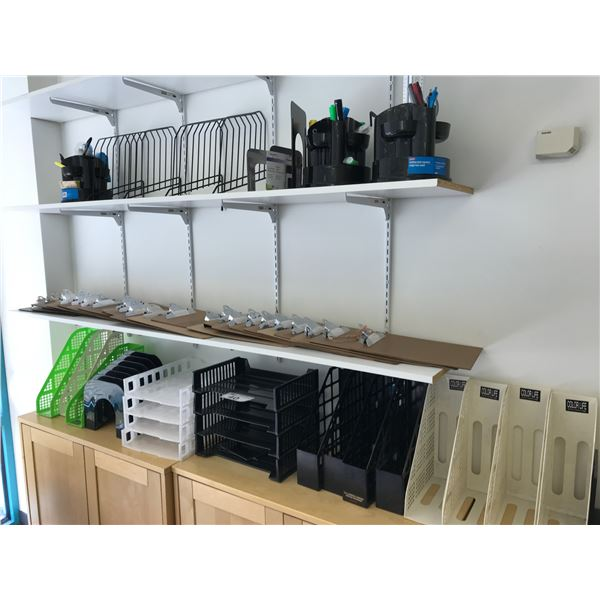 LOT OF STATIONERY, ORGANIZERS AND 2 MISC. SPACE HEATERS