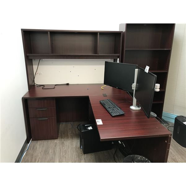 MAHOGANY 6 X 6' CORNER COMPUTER DESK WITH OVERHEAD AND 6' BOOKCASE