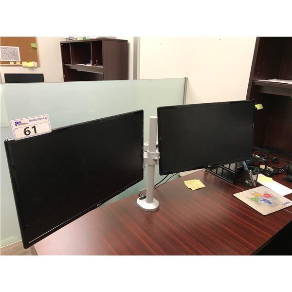 "2 LG 24"" LCD MONITORS AND DUAL MONITOR STAND"