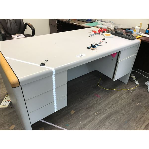 GREY 6' X 3' EXECUTIVE DESK AND 3 DRW. GREY LATERAL FILE CABINET