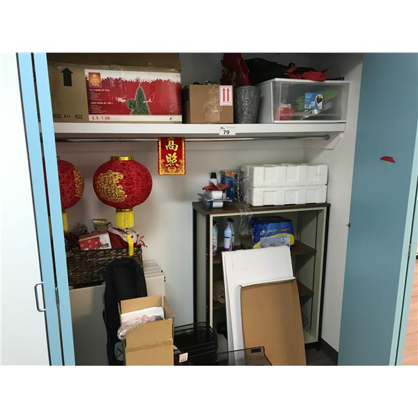 CONTENTS OF CLOSET INCLUDING FOLDING TABLES, HOLIDAY DECOR AND MORE