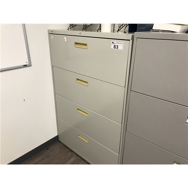 GREY 4 DRAWER LATERAL FILE CABINET