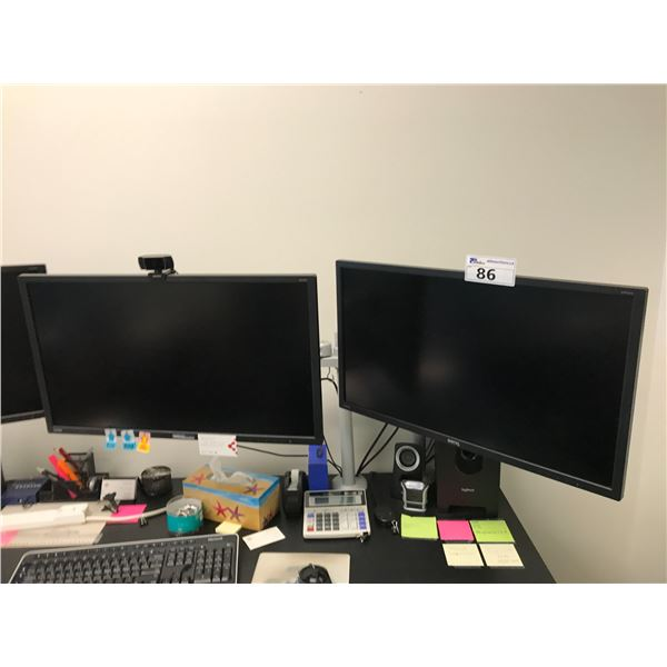 """2 BENQ 28"""" LCD MONITORS AND DUAL MONITOR STAND"""