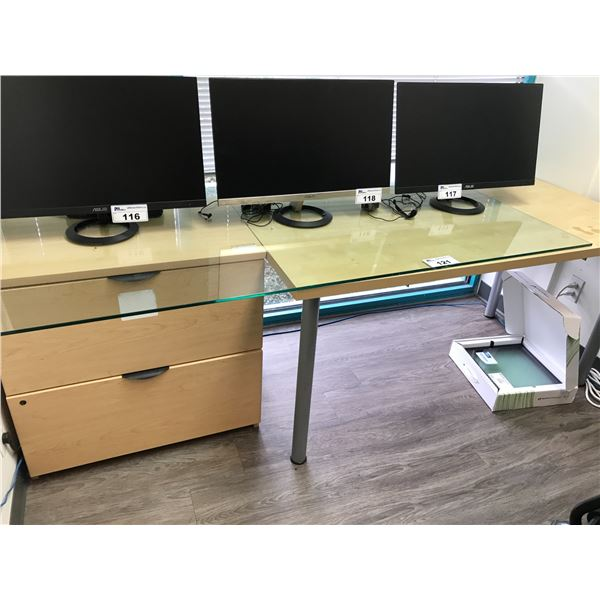 GLASS TOP 5' LAYOUT TABLE AND MAPLE 2 DRAWER LATERAL FILE CABINET
