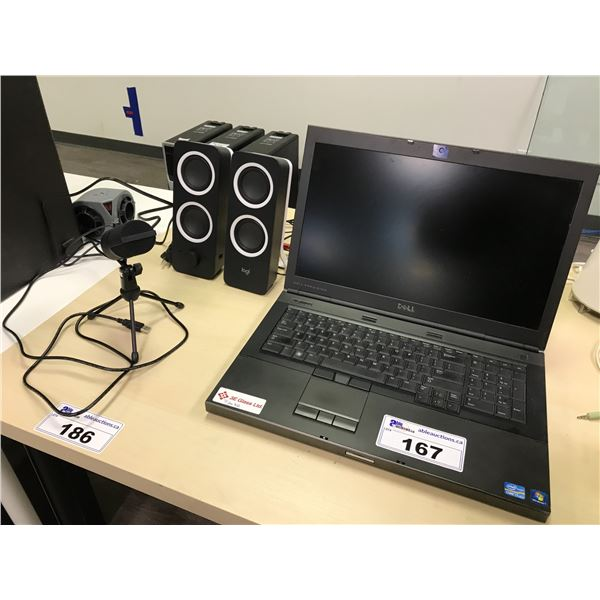 "DELL I7, 17"" NOTEBOOK COMPUTER WITH LOGI SPEAKERS,  A FIFINE PORTABLE MICROPHONE WITH NO HARD DRIVE"
