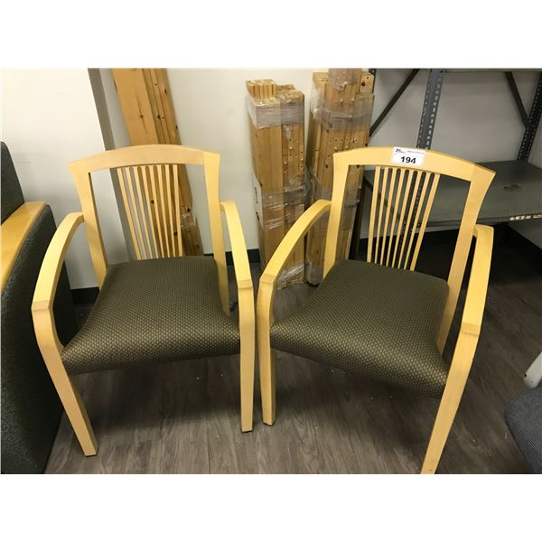 2 BROWN MAPLE CLIENT CHAIRS