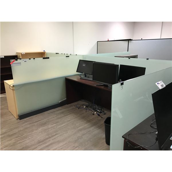"SIX 50"" H FROSTED GLASS OFFICE DIVIDERS"