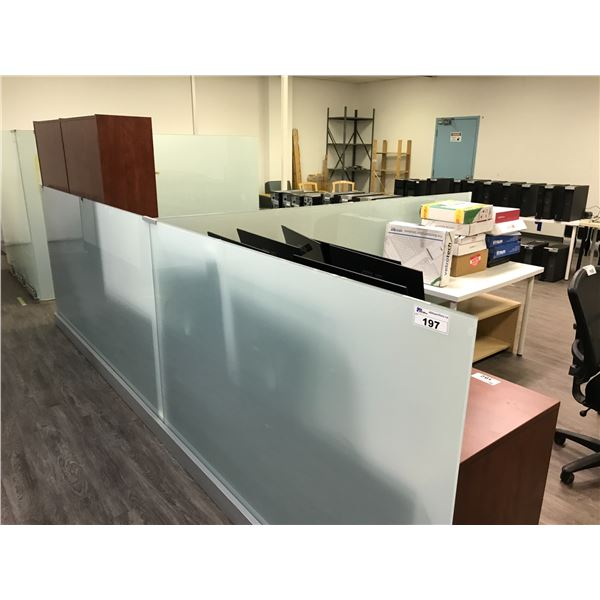 """LOT OF 3 FROST 3 FROSTED GLASS 50"""" H OFFICE DIVIDERS"""