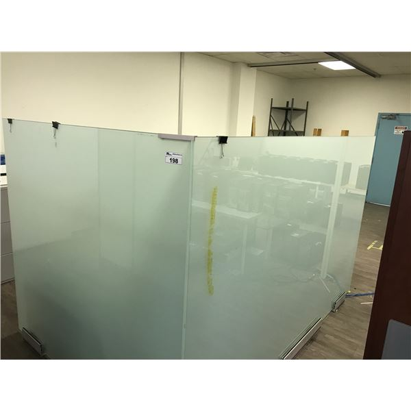 """TWO 68"""" FROSTED GLASS OFFICE DIVIDERS"""