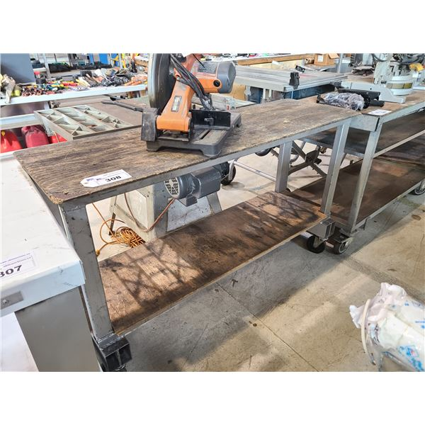 "2 TIER WOOD MOBILE WORK TABLE W62' X D20"" X H36"""
