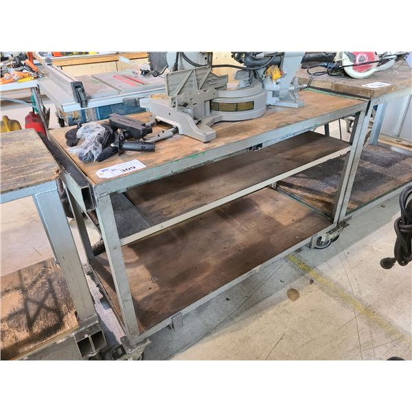 3 TIER WOOD MOBILE WORK TABLE W54  X D23  X H36