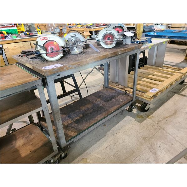2 TIER WOOD MOBILE WORK TABLE W49  X D24  X H37