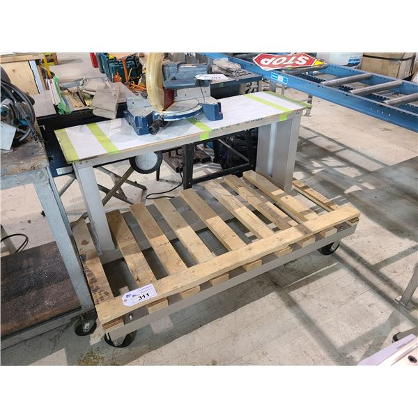 2 TIER WOOD MOBILE WORK TABLE/SHEET METAL AND GLASS PRODUCT CART
