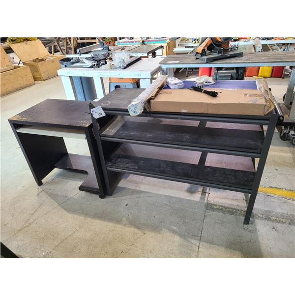 """3 TIER METAL WORK TABLE W48"""" X D18' X  H35"""" AND MOBILE DESK WITH KEYBOARD TRAY W31"""" X D20"""" X H30"""""""