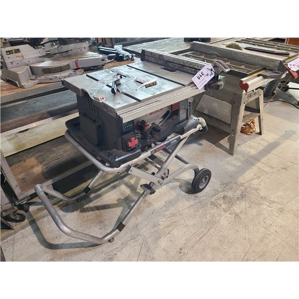"""BOSCH 4100 10"""" TABLE SAW WITH BOSCH TS3000 GRAVITY RISE MOBILE SAW STAND AND 2 SAW BLADES"""