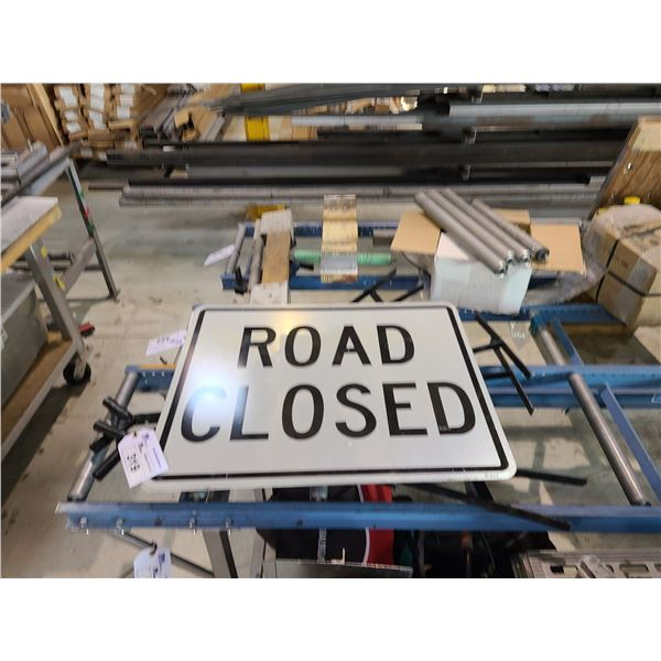 2 PORTABLE ROAD CLOSED SIGNS WITH STANDS