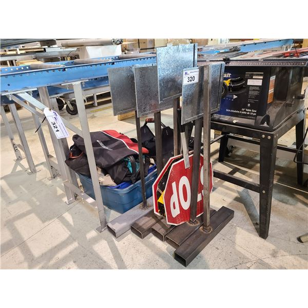 ASSORTED TOOL BAGS, CARRY BAGS, 5 SIGN HOLDERS AND 3 HANDHELD DOUBLE SIDED TRAFFIC CONTROL SIGNS