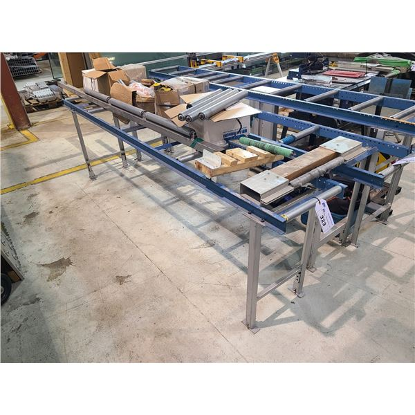BLUE METAL 9.5' GRAVITY ROLLER PRODUCT CONVEYOR