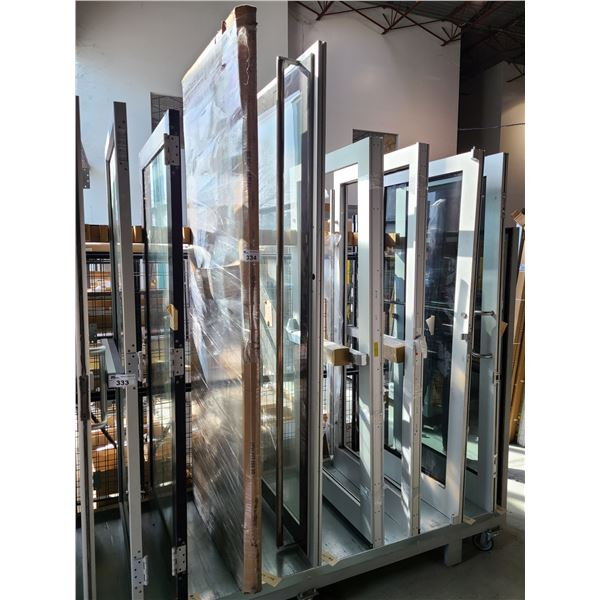 2 COMMERCIAL DOORS, 1 ALUMINUM FRAME AND GLASS DOOR WITH STAINLESS STEEL PULL BAR HANDLE AND 1