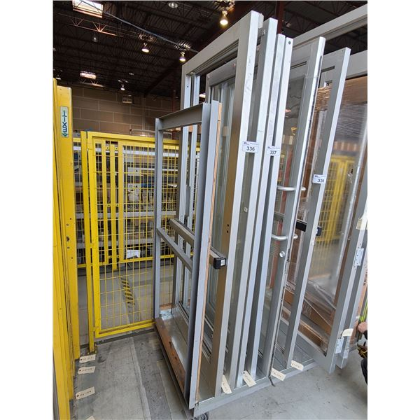 "PAIR OF ALUMINUM FRAME (NO GLASS) COMMERCIAL DOUBLE DOORS WITH PANIC BAR  35"" X 83"""