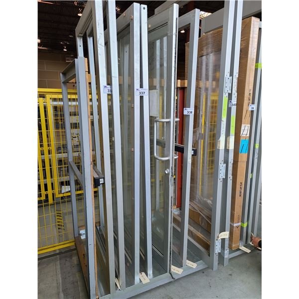 "PAIR OF ALUMINUM FRAME AND GLASS COMMERCIAL DOUBLE SLIDING DOORS 33"" X 82"""