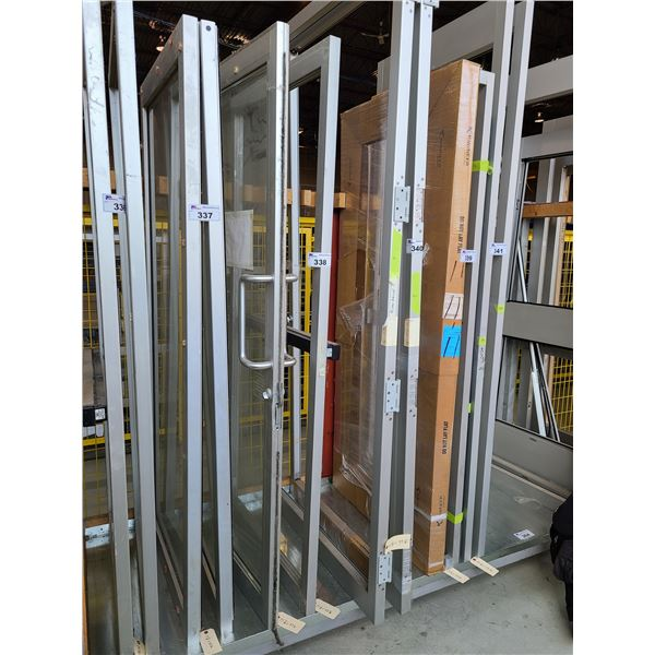 2 COMMERCIAL DOORS, 1 ALUMINUM FRAME AND GLASS PUSH PULL DOOR AND 1 ALUMINUM FRAME (NO GLASS)