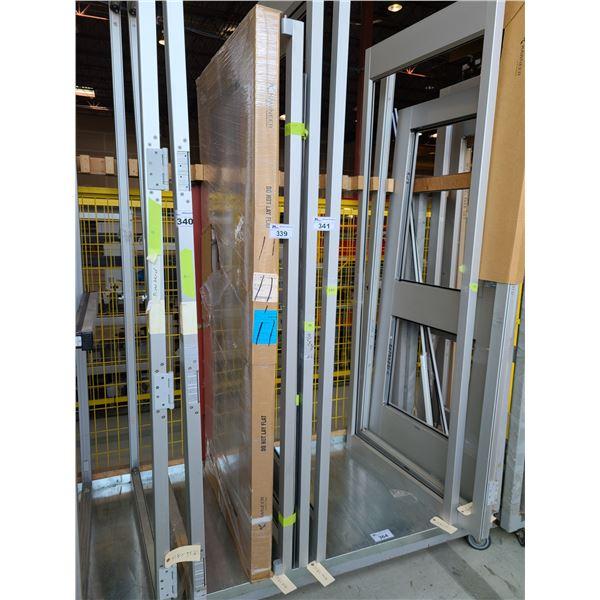 2 COMMERCIAL DOORS, 1 ALUMINUM FRAME (NO GLASS) PUSH PULL DOOR AND 1 ALUMINUM FRAME (NO GLASS) DOOR