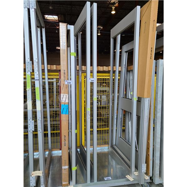 PAIR OF ALUMINUM FRAME (NO GLASS) COMMERCIAL DOORS 35  X 94