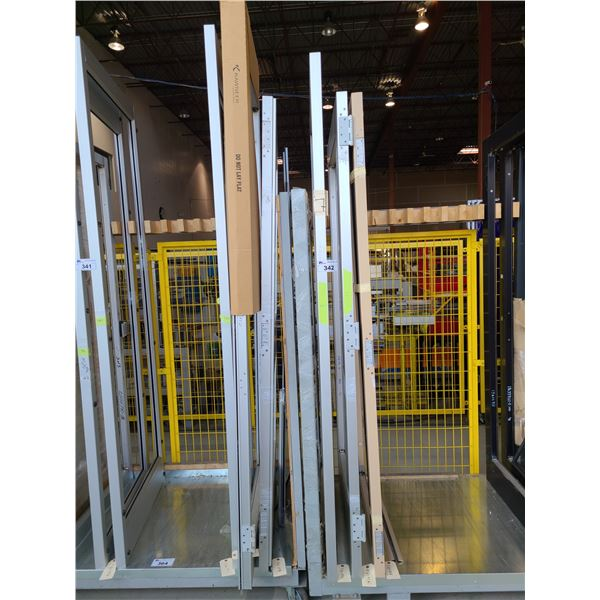 6 ASSORTED SIZED AND STYLE COMMERCIAL ALUMINUM FRAME (NO GLASS) DOORS