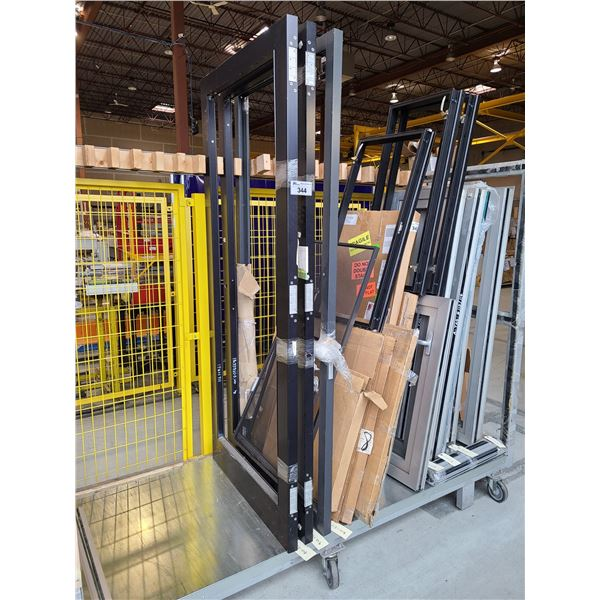 3 ASSORTED SIZED AND STYLE COMMERCIAL ALUMINUM FRAME (NO GLASS) DOORS