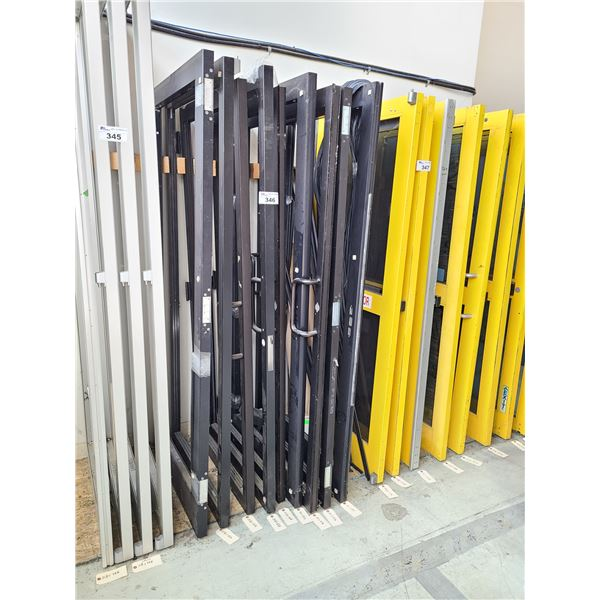 LOT OF 9 ASSORTED BLACK ALUMINUM FRAME (NO GLASS) COMMERCIAL DOORS WITH WEATHER PROOF SEALING