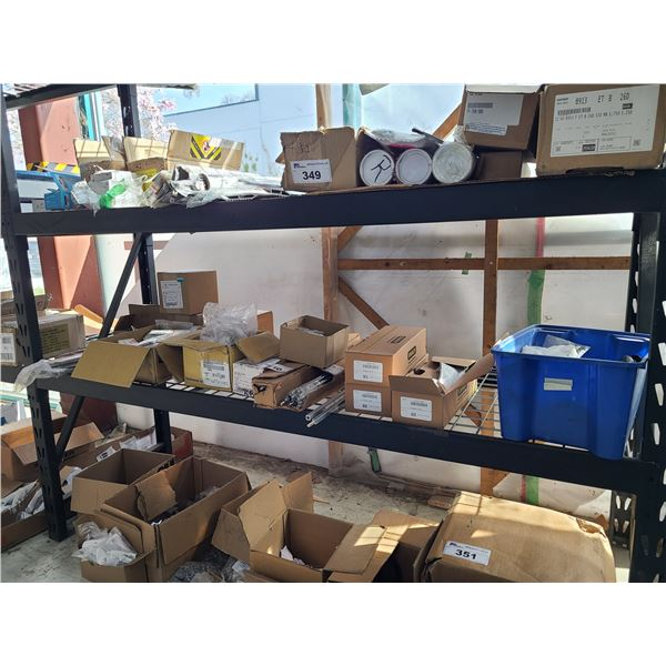 SHELF OF ASSORTED COMMERCIAL DOOR HARDWARE INCLUDING, DOOR FRAME LOCK PLATES AND REPLACEMENT ARMS