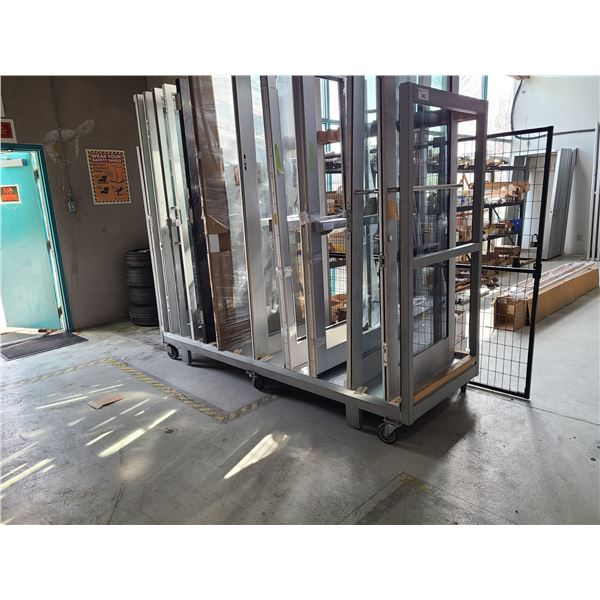 GREY METAL MOBILE PRODUCT STORAGE CART WITH CUSTOM WOOD SPACERS