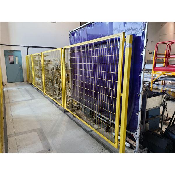 4 PANELS AND 5 UPRIGHTS OF YELLOW METAL MESH BOLT DOWN FENCING