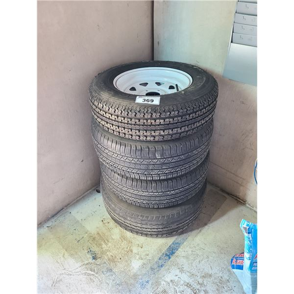 4 ASSORTED SIZED TIRES, 1 POWER KING RADIAL 205/75R15, 1 GENERAL GRABBER TR 245/70R17 AND 2