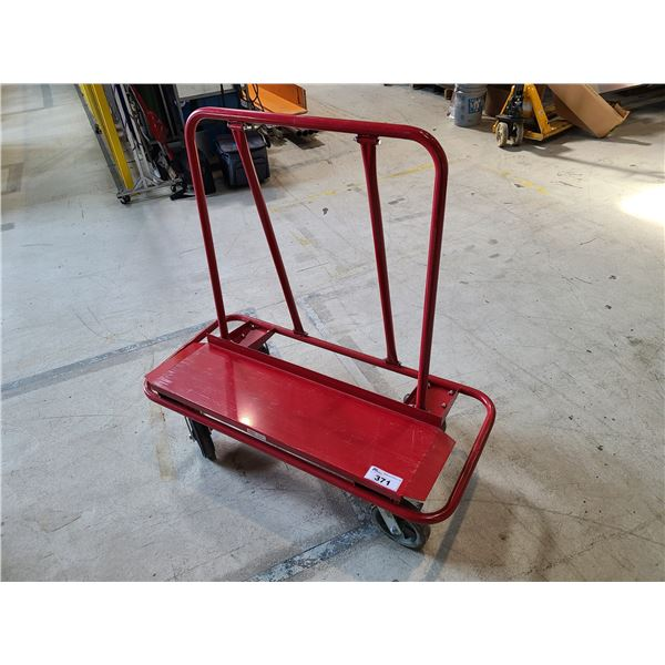 RED METAL MOBILE SHEET METAL/GLASS PRODUCT CART
